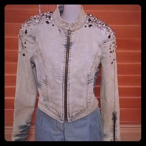 New Robert Rodriguez Denim Jeweled Jacket